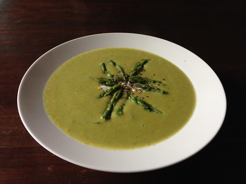 Curried asparagus and kaffir lime soup | by Doug Beckers