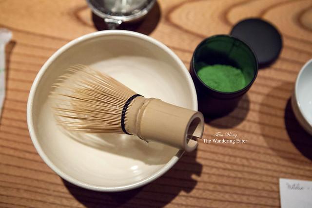 Preparing to make my own cup of matcha (Kan-no-shiro matcha)