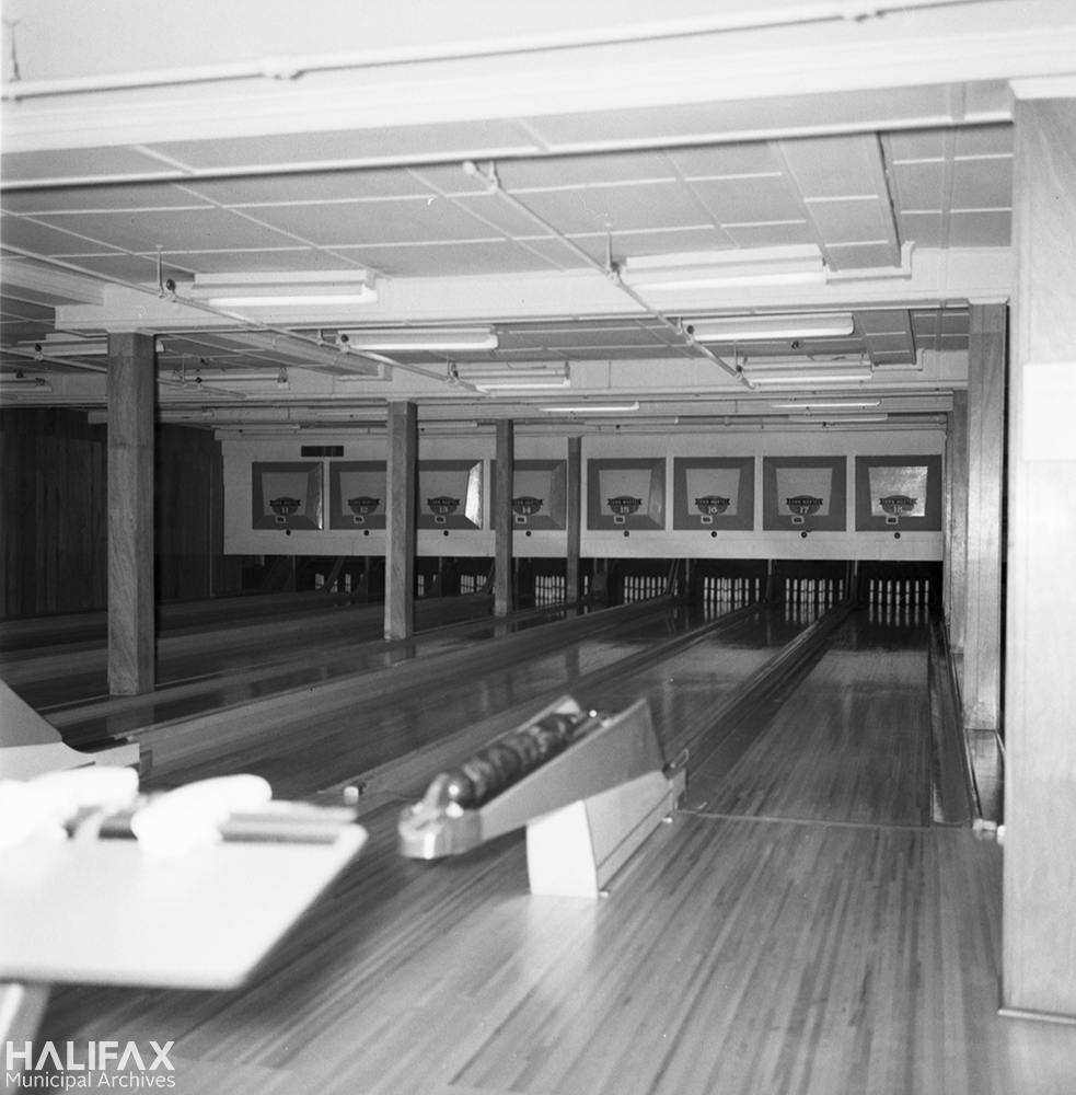 Unidentified bowling alley (possibly Conn & Martel?), demolished to make way for Scotia Square