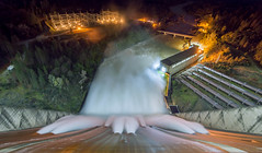 Shasta Dam spillway night shot - lake only 6' from top