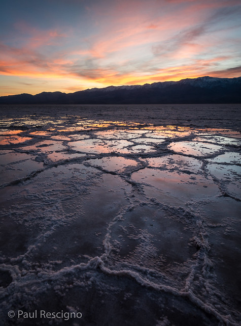 Bad Water Basin, After the Rains, Sunset, Death Valley, California, USA