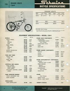 Schwinn Bicycle Specifications - C30 Orange Krate - 1968