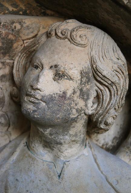 Angel (head). Bordeaux, cathedral, Portail Royal (c. 1250), tympanum.