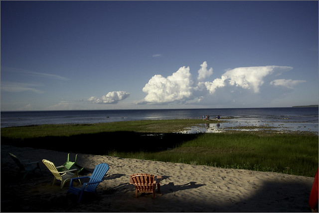 Clouds Over the Straits, with chairs