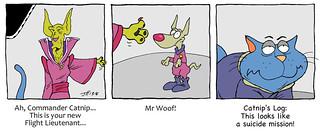 Catnip meets Lieutenant Woof | by Catnip Cat by Jeff Hoyle