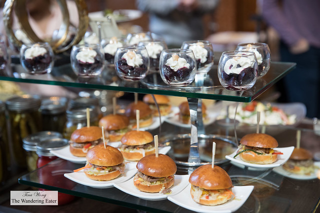 Duck sliders and roasted beet with whipped ricotta cheese