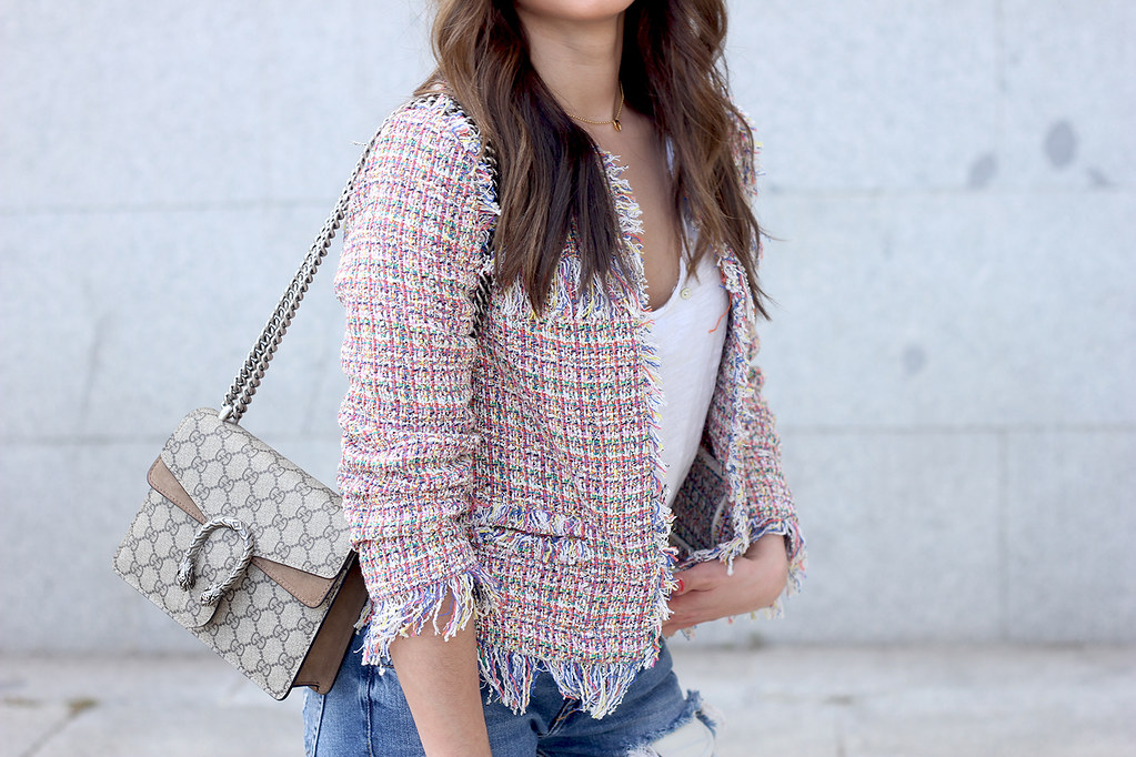 111fe6c7578dff ... Tweed Jacket ripped jeans converse sneakers gucci bag spring outfit  style10