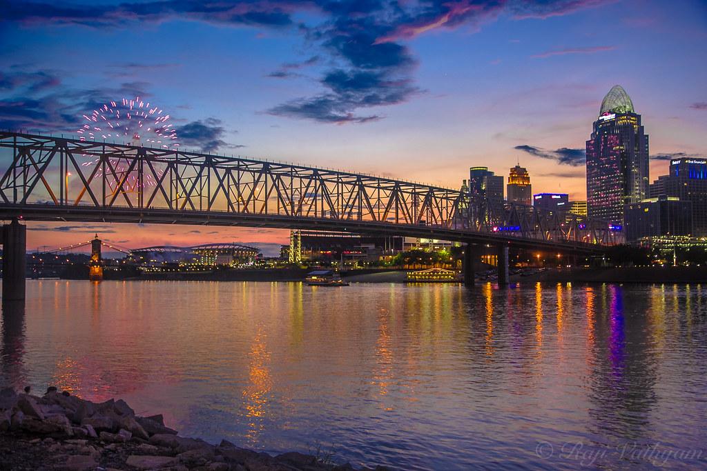 Cincinnati Skyline with fireworks