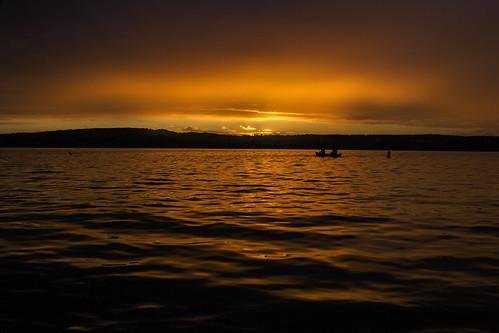sunset orange lake water vermont canoe vt