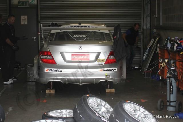 In the garage at Superstars World at Donington