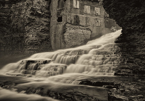 bw plant newyork abandoned monochrome waterfall whitewater power falls ithaca cascade hdr hydroelectric platinumtoned