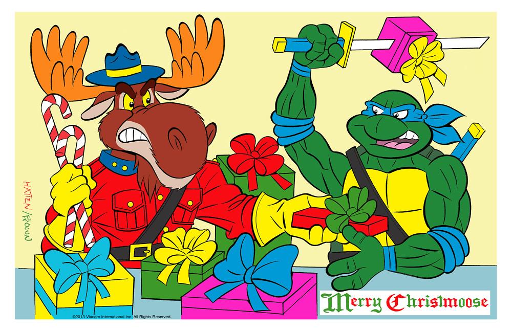 """TEENAGE MUTANT NINJA TURTLES :: """"MERRY MONTY CHRISTMOOSE"""" .. pencils by Bruce Hatten, colors & inks by Ryan Brown  (( 2013 )) by tOkKa"""