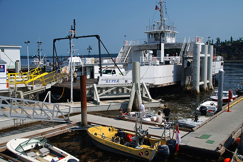 BC Ferry MV Kuper departs Chemainus for Penelakut Island (Kuper Island), Gulf Islands, Vancouver Island, British Columbia, Canada