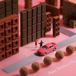. Welcome to Valentown! バレンタウンへようこそ! . TOYOTA( @toyota_jp )とバレンタインをテーマに作品を作らせていただきました。 #トヨタグラム #トヨタ #TOYOTA #バレンタイン #Valentine #チョコレート #Chocolate .