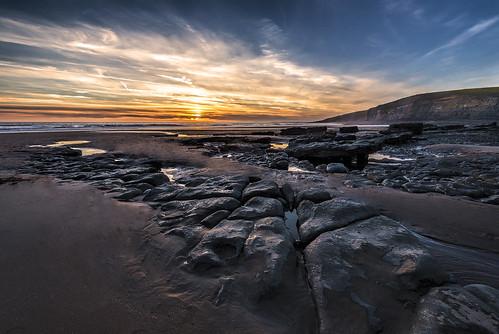 sunset beach sea clouds