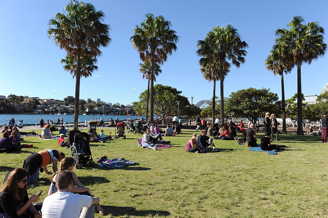 Pyrmont wine, food and art festival (with views of the Harbour Bridge in the background)
