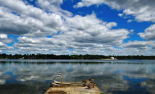 blue sky lake ontario canada reflection water clouds jetty ducks ballantrae kettlelake stouffville musselmanslake nikond7000