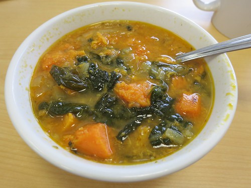 Sweet potato, kale and sausage soup   by Ruth and Dave