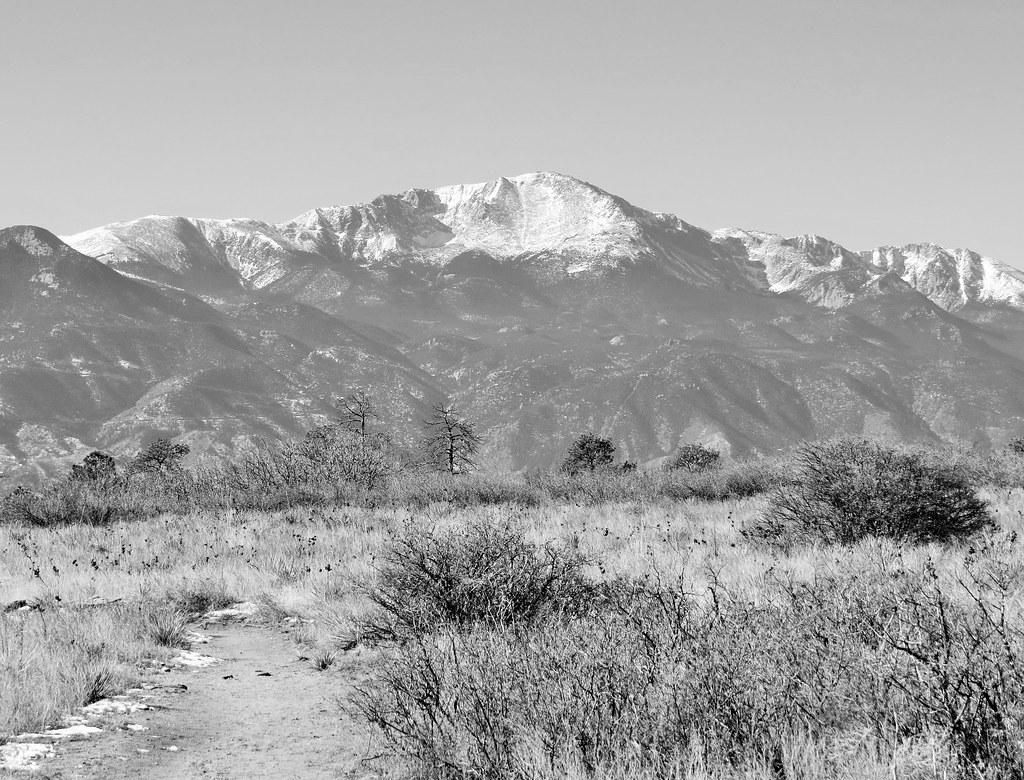 Pikes Peak in B&W