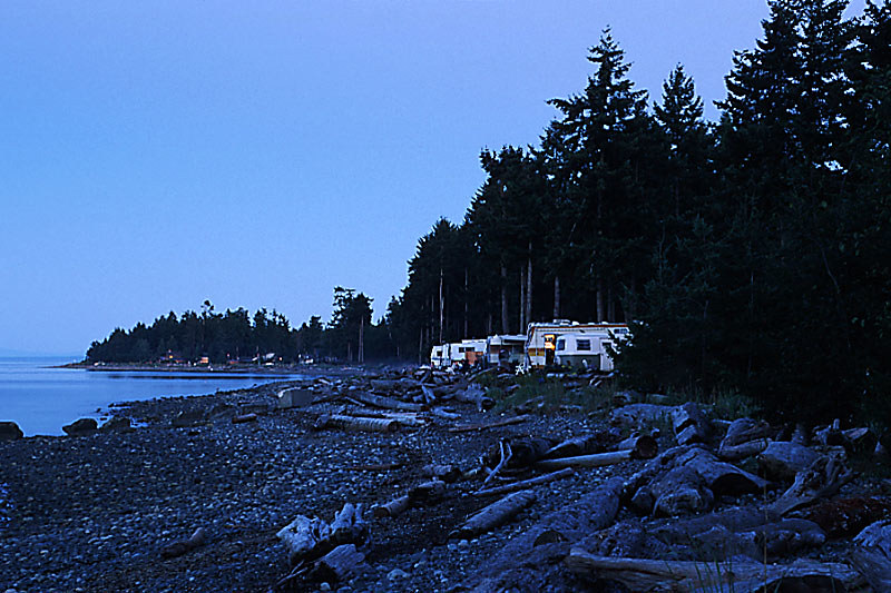 Provincial Campground at Miracle Beach Provincial Park, Saratoga Beach, Vancouver Island, British Columbia, Canada