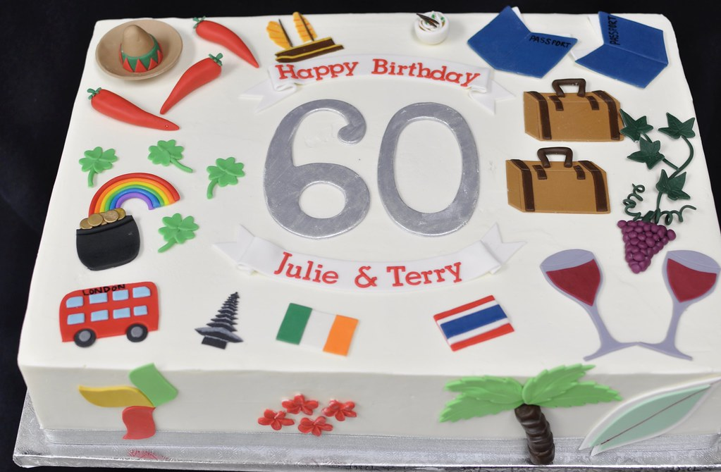Pleasing 60Th Birthday Sheet Cake Travel Theme Jenny Wenny Flickr Funny Birthday Cards Online Alyptdamsfinfo