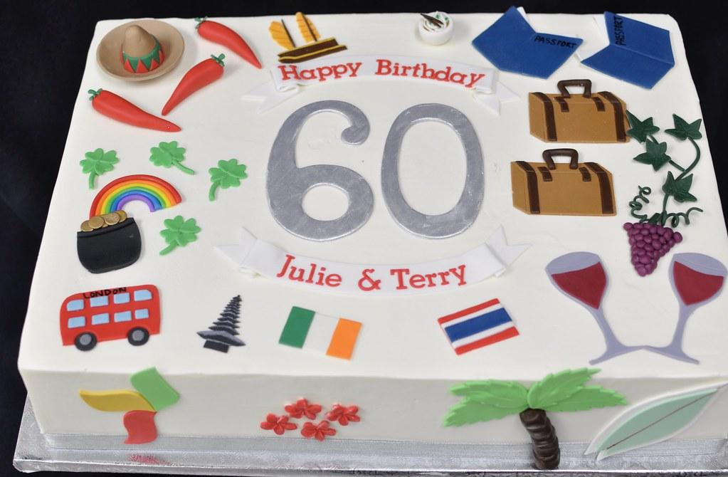 Wondrous 60Th Birthday Sheet Cake Travel Theme Jenny Wenny Flickr Funny Birthday Cards Online Eattedamsfinfo