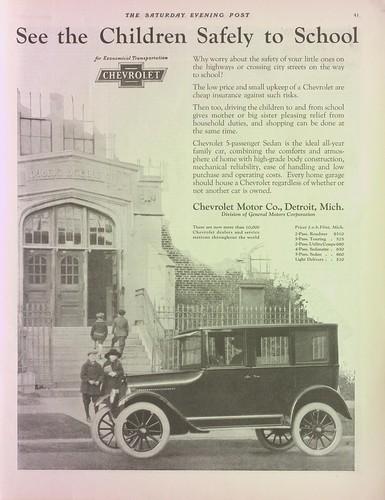 Drive children to school ad, Chevrolet, Saturday Evening Post, March 3, 1923