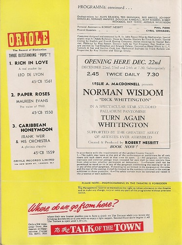 15  - Adverts - Oriole Records - Palladium Pantomime (Norman Wisdom) - Talk Of The Town | by Bradford Timeline