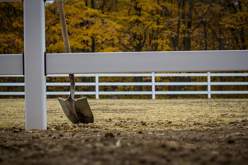 Shovel Leaning on Horse Fence | by VBuckley.com