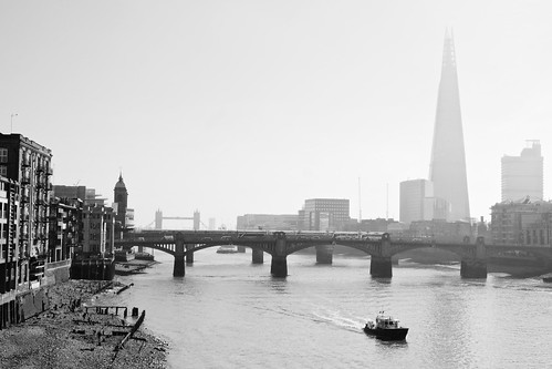 england london riverthames millenniumbridge towerbridge theshard river bridges boat misty morning view bw abigfave flickrsbest