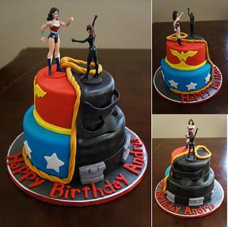 Wonder Woman V Catwoman Cake