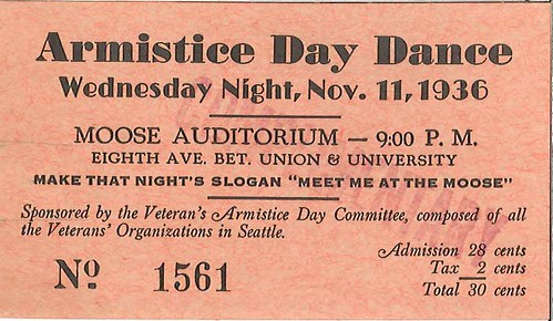 Armistice Day dance ticket, 1936 | by Seattle Municipal Archives