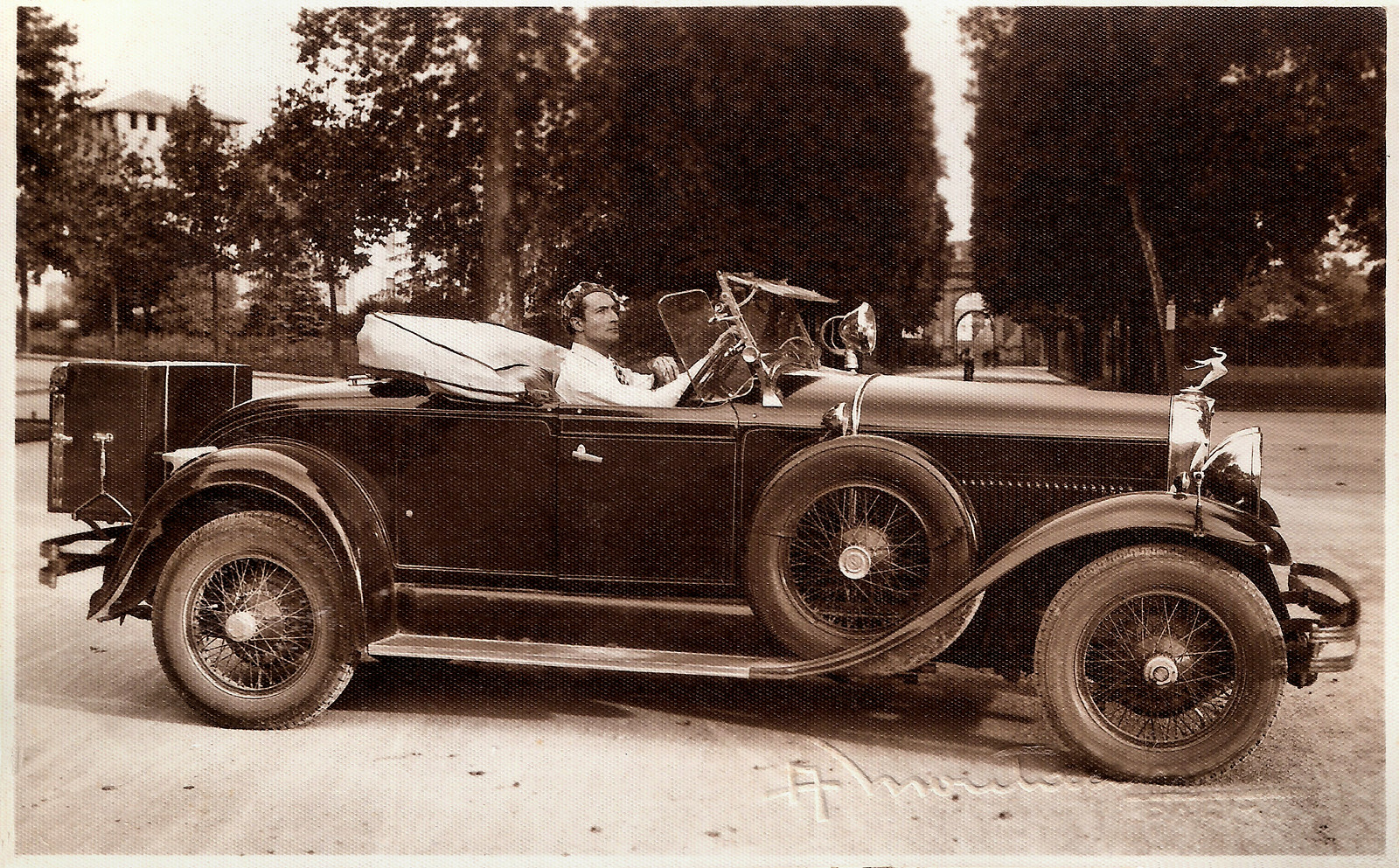 Nerio Bernardi in his car