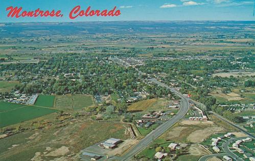 vintage colorado view postcard aerial montrose