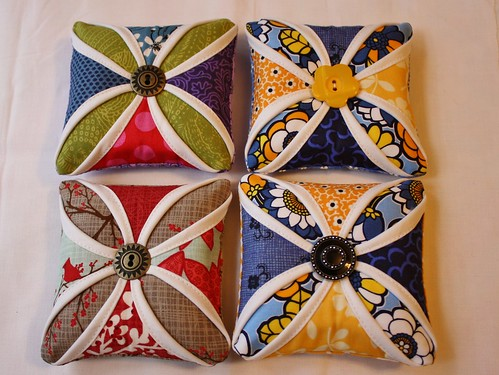 Cathedral Window Quilted Pin Cushions