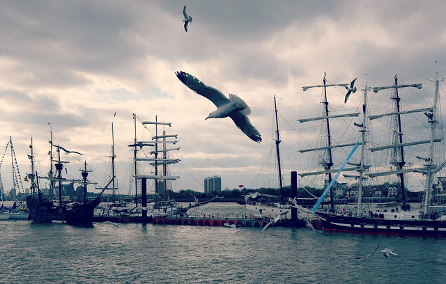 Woolwich seagulls and sailing ships.