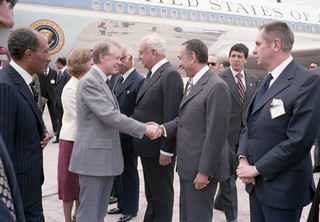 President Sadat at the arrival of President Jimmy Carter and Mrs. Rosalynn Carter in Cairo, March 8, 1979