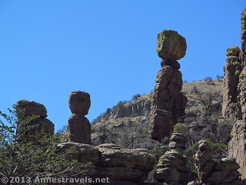 Lone spires along the Echo Canyon Trail in Chiricahua National Monument, Arizona