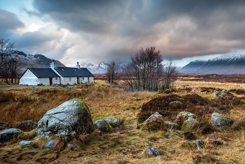 glencoe scotland sunrise winter snow mountains black rock blackrock cottage