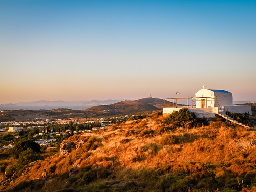 lonely church view sunset sun kos greece nature landscape orange white sky