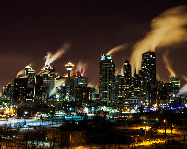 Calgary Downtown Core Cold Nights - Surviving the Arctic Vortex