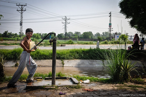 Traditional hand pumps are common in rural Pakistan