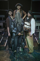 Thu, 2013-09-05 23:09 - Davy Boone (Blake Montgomery) and his right hand man Bilge (Christopher Walsh) stand with fearsome Crownless pirates (Kara Davidson and Ben Hertel). Photo by Michael Brosilow.