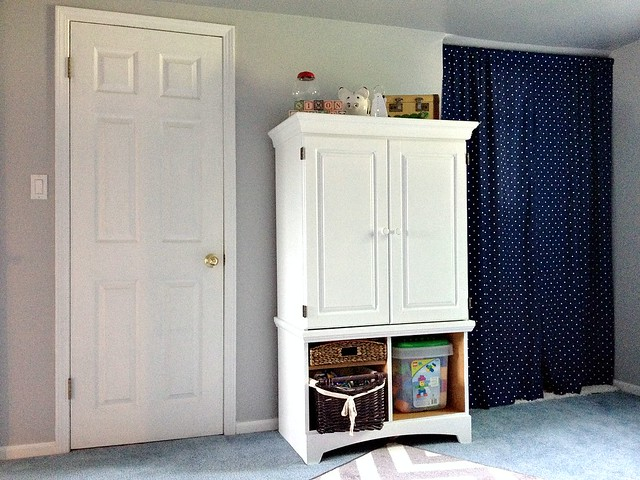 painted wardrobe and toy cabinet