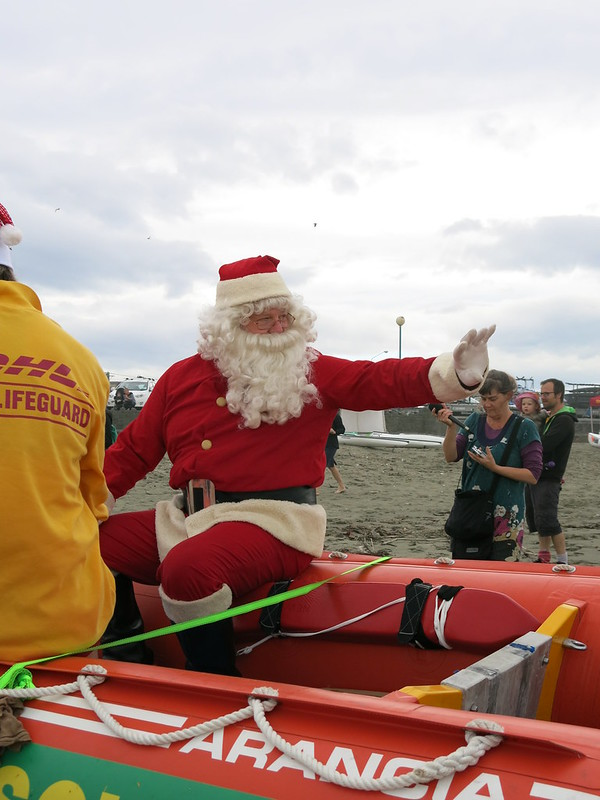 Santa on the beach - New Brighton Santa Parade