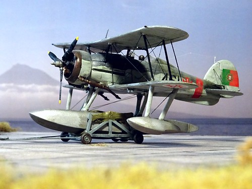 1:72 Gloster Gladiator Mk. II floatplane conversion; aircraft '461'/ 'Tubarão' of the Esquadrilha de Caça No. 3, Portuguese Aéronautica Militar; Lajed (Azores), 1949 (Whif/modified Matchbox kit)   by dizzyfugu