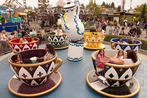 Teacups at Playland Amusement Park, PNE Fairgrounds, Vancouver, British Columbia, Canada.