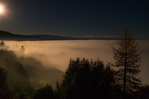 auberry california unitedstates us sierranevada pineridge mountains fog moonlight