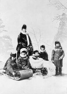 Harriot Georgina, Countess of Dufferin, with her family, photographed in a winter studio setting... / Harriot Georgina, comtesse de Dufferin, et les membres de sa famille sont photographiés dans un décor d'hiver de studio...
