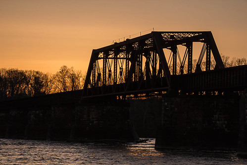 railroad bridge sunset night river connecticut enfield 2013